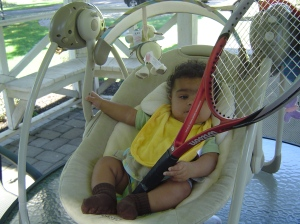 Future tennis star - Alexander at 16 weeks
