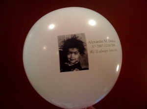 The balloons we released for Alexander during the tot lot dedication.